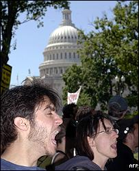 Pro-immigration protesters at a counter-demonstration against the Minutemen Project