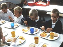 Children eating school dinner (library)