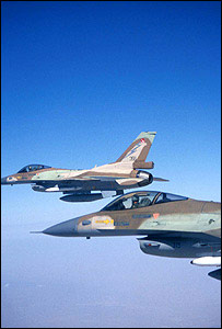 Israeli F-16 jets flying above northern Israel (image: Israeli Defence Forces)