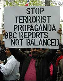 Sinhala protesters outside BBC offices