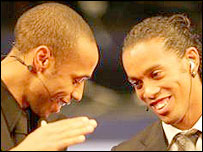 Arsenal striker Thierry Henry and Barcelona star Ronaldinho