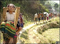 Ethnic Karen flee their village in April