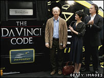 Ron Howard, Audrey Tautou and Tom Hanks with The Da Vinci Code train