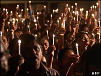 A protest by candlelight involving Christians in India