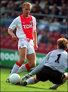 Dennis Bergkamp playing for Ajax in 1990