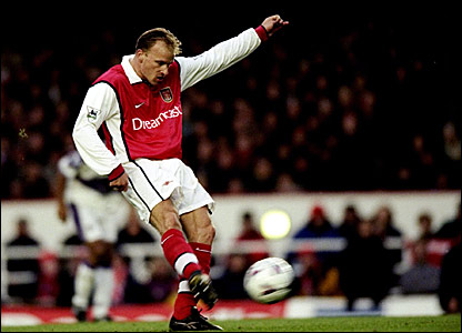 Dennis Bergkamp scores in Arsenal's 5-1 victory over Middlesbrough in 1999