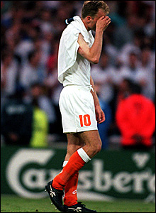 Dennis Bergkamp trudges off after the 4-1 defeat to England at Wembley