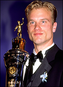 Dennis Bergkamp with the PFA player of the year trophy