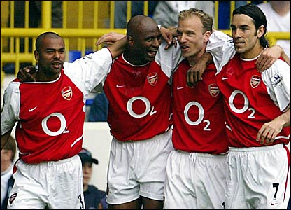 (l-r) Ashley Cole, Patrick Vieira, Dennis Bergkamp and Robert Pires were integral to Arsenal's unbeaten season