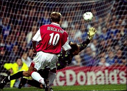 Dennis Bergkamp scores a remarkable third goal against Leicester
