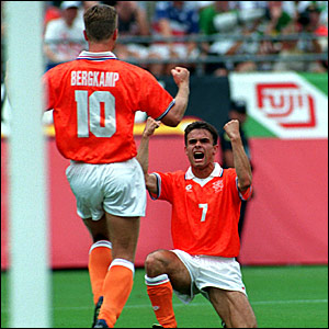 Dennis Bergkamp celebrates his goal against Ireland in the 2-0 win in their round of 16 clash