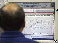 A scientist at the Hawaii Pacific Tsunami Warning Centre looks at simulated seismic data on Tuesday