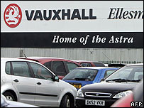 Astra cars lined up at Vauxhall's Ellesmere Port plant