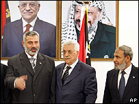 Hamas officials Ismail Haniya and Mahmoud Zahhar either side of Mahmoud Abbas