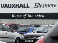 Staff cars at Vauxhall's Ellesmere Port plant
