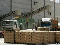 Wheat and cement transported from Israel through the Karni Crossing
