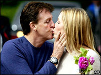 Sir Paul McCartney and Heather Mills the day before their wedding