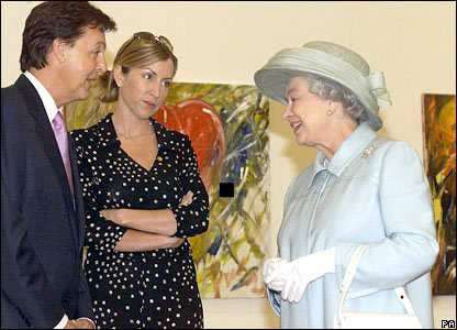 Sir Paul and Mills meet the Queen at an exhibition of his paintings at the Walker Art Gallery in Liverpool