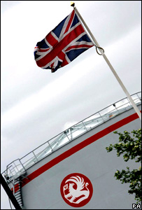 A Union Jack flying over Vauxhall's Ellesmere Port plant