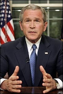George W Bush in the Oval Office after his speech on immigration