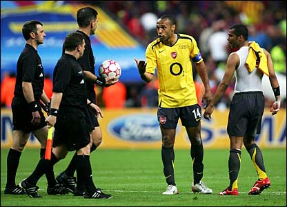 Thierry Henry takes issue with the match officials