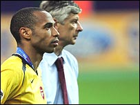Arsenal's Thierry Henry and manager Arsene Wenger