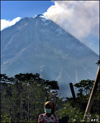 Villager working on the slopes of Mount Merapi