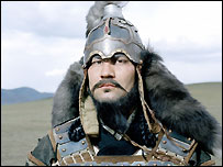 Actor Orgil Makhaan as Genghis Khan in a BBC drama, April 2005