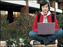 Student using laptop, Intel