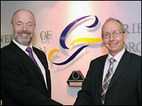 Prof David Halton (left) with Principal Howard Jenkins