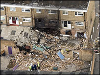 Aerial view of the scene of the gas explosion courtesy of Humberside Police