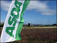 Asda banner over site of proposed new Asda store in Inverness