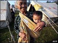 A grandmother and child in a refugee camp in Salam