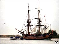 A replica of Captain Cook's famous ship Endeavour