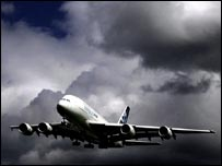 The Airbus A380 landing at Heathrow Airport