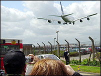 The A380 comes in to land