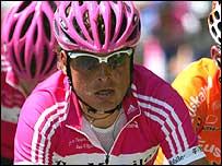 Jan Ullrich competes in the Giro d'Italia