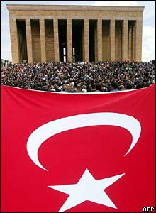 Crowds outside Ataturk mausoleum with giant Turkish flag