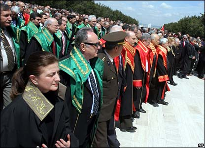 Lawyers and judges dressed in robes