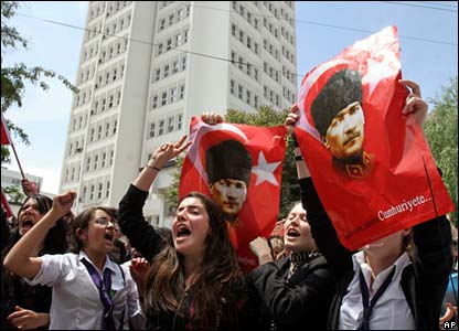 Protesters display pictures of Ataturk