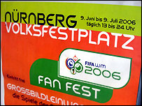 Sign advertising Nuremberg World Cup fanfest