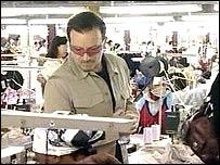 Bono in textile factory