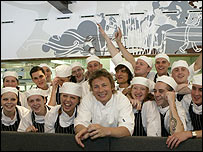 Jamie Oliver and Fifteen Cornwall's trainee chefs