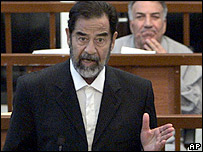 Saddam Hussein on trial in Baghdad