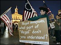 Protesta contra inmigrantes.