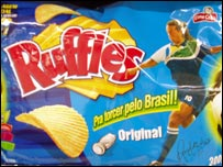 Image of Ronaldinho on crisp packet
