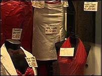 Italian clothes in shop in Bergamo