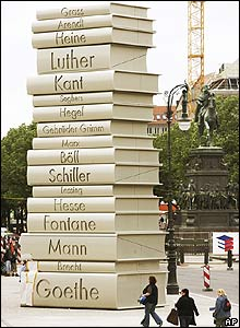 A sculpture of books in Berlin as part of the Germany - Land of Ideas initiative for the World Cup