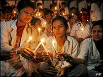 Protesting medical students in India