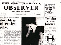 Newspaper clipping showing Hackney logo